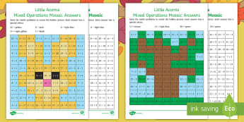 Little Acorns Mixed Operations Maths Mosaic Activity Sheets - Twinkl fiction, originals, Little Acorns, KS1, Maths, addition ,subtraction, multiplication, workshe