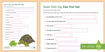 Esio Trot Activity Sheet - Roald Dahl Day, Titles, KS2, SPaG, Brain teaser