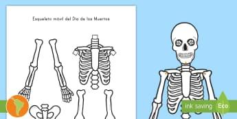 Ficha para recortar: Esqueleto móvil para el Día de los Muertos - Día de los muertos, Día de la muerte, Día de mertos, catrina, calaveras, calaberas, esqueletos, r