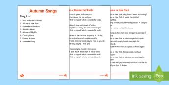 Elderly Care - Autumn Song Lyrics - Autumn, Seasons, Display, September, October, November, Leaves, Harvest, Activity Co-ordinators, Sup