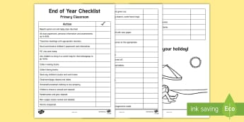 End of Year Teacher Checklist - summer holiday, end of term, cleaning, transition, handover