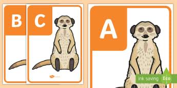 AZ Alphabet on Meerkats Alphabet Mat - A-Z Alphabet on Meerkats - A-Z, A4, display, Alphabet frieze, Display letters, Letter posters, A-Z l