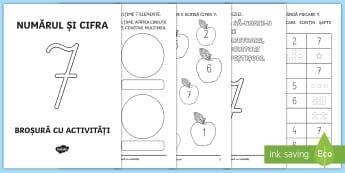 Numărul și cifra 7 Broșură cu activități - numere, numărul și cifra 7, cifre, matematică și explorare mediului, clasa pregătitoare, broșu