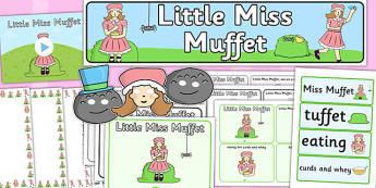 Little Miss Muffet - little miss muffet, resource pack, rhyme