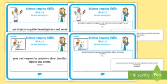 Foundation Science Inquiry Skills Display Posters - Science, Australian Curriculum, science inquiry skills, prep, kinder, reception, WALT, learning outc