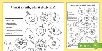 Aruncă zarurile și colorează suma: Fructe Activitate - numere, culori, numărul și cifra, culori, arte, adunări, adunare, jocuri, activități
