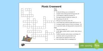 Picnic Crossword - games, activity, puzzle, challenge, family, boredom