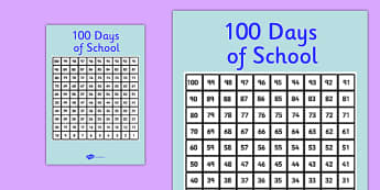 100 Days of School Poster - 100 days, school, poster, display, check, mark off, tick off, 100, days