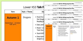 Lower KS3 Talk For Writing Long Term Plan - lower ks3, talk, writing, long term plan, long term, plan