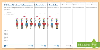 Delicious Division with Remainders Activity Sheet - NI KS2 Maths Resources, KS1 Resources, division, sharing, remainder, times tables, worksheet, work s