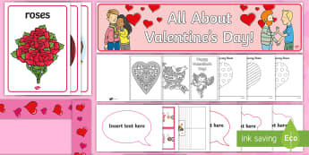 Valentine's Day Discover and Learn Display Pack - valentines day, discover, learn, discover and learn, display, activity, activities, pack