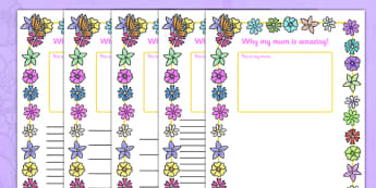 My Mum Is Amazing Page Borders - Mother's day, my mum is amazing, page border, border, writing template, writing aid, writing, Mother's day activity, Mother's day resource