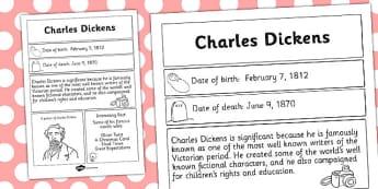 Charles Dickens Significant Individual Fact Sheet - fact, sheet