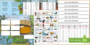 Year 3 Butterfly Themed Spelling Menu Pack - spag, gps, home learning, weekly, lists, test,