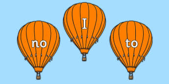 Phase 2 Tricky Words on Orange Hot Air Balloons - phase, 2, tricky, words,orange, hot, air, balloons, phonics, letters, sounds