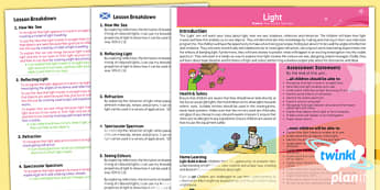 Science: Light Year 6 Planning Overview CfE