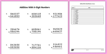 Addition with 6 Digit Numbers Activity Sheet - bigger numbers, hundred thousands, addition, activity, worksheet