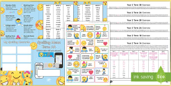Year 2 Emoji Themed Spelling Menu Pack - spag, gps, home learning, weekly, lists, test,