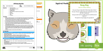 Squirrel Shape Posting Busy Bag Plan and Resource Pack - woodland, woods, forest, dice, number, shape, animals, squirrel,