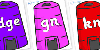 Silent Letters on Recycling Bins - Silent Letters, silent letter, letter blend, consonant, consonants, digraph, trigraph, A-Z letters, literacy, alphabet, letters, alternative sounds