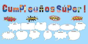 Cumpleaños Súper! Superhero Themed Birthday Display Pack Spanish - spanish, Signs and Labels, birthdays, birthday, superheroes, action, comic
