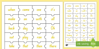 Yellow Reading Sight Words Jigsaw Puzzle - Literacy, Reading, Yellow, Sight Words, Colour Wheel