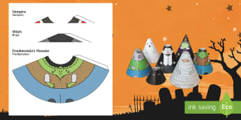Halloween Cone People English/Spanish  - Spanish, EAL, Halloween Cone Characters, craft, cone, characters