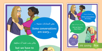 Some Conversations Are Scary A4 Display Poster Arabic/English - Mental Health, Mental Health Awareness, Depression, Emotions, mental Health Awareness Day, EAL, Arab
