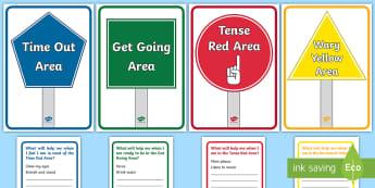 Areas of Self-Regulation Display Posters - zones of regulation, behaviour management, behaviour strategies, regulating own behaviour,