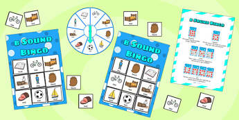 b Sound Bingo Game with Spinner - sounds, sound games, bingo