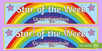 Star of the Week Banner English/Polish - star, reward, behaviour, praise, celebrate, Polish-translation