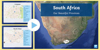 South Africa's Beautiful Provinces PowerPoint - map work, population, density, land mass, heritage, UNESCO, places to visit, grade 4, grade 6, SS, S