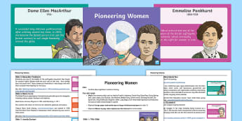 Pioneering Women Whole School Assembly Script and PowerPoint Pack - women, woman, international women's day, international womens day, womens day, womans day, pioneers