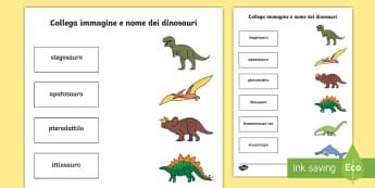 Collega immagine e nome dei dinosauri Attività - esercizio, collega, abbina, vocaboli, nome, dinosauri, italiano, italian, materiale, scolastico