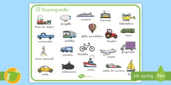 Tapiz de vocabulario: El transporte - transporte, coche, camión, avión, globo aerostático, autobús, moto, motocicleta, vía, carretera