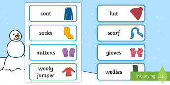 Winter clothes labels - Clothes Primary Resources, clothing, what we wear, wear, printables