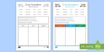 Wortarten Bestimmen Thema Sommerferiend Arbeitsblatt - Wortarten, Sommer, Sommerferien, Nomen, Verben, Adjektive,German