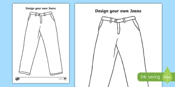KS1 'Jeans for Genes Day' Design Your Own Jeans Activity Sheet, worksheet