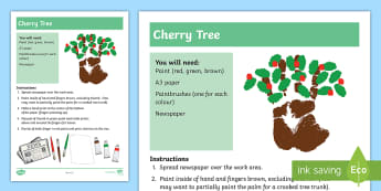 Cherry Tree Finger Painting Activity - hands, body parts, craft, art, sensory, hands