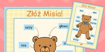 Duży plakat Złóż Misia po polsku - liczenie , Polish