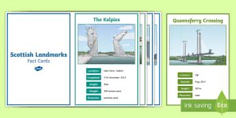Scottish Landmarks Fact Cards - Scottish Landmarks, Cfe, Geography,tourist attractions, Forth Road Bridge, Forth Rail Bridge, Falkir