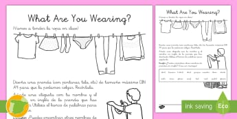 Ficha de actividad: ¿Qué llevas? - Inglés - clothes, lengua extranjera, english, ropa, ,Spanish-translation