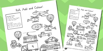 Transport Roll And Colour Activity Worksheet - transport, activity