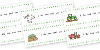 Alphabet Strips (On the Farm) - Alphabet, Learning letters, Writing aid, Writing Area, farm, pig, cow, chicken, goat, tractor, farmer, chicken, goat, sheep, hay, milk, eggs