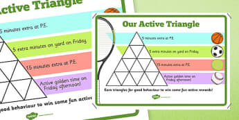 Our Active Triangle Reward Sheet - active flag, active school, blue flag, sport, PE, reward, chart, behaviour