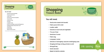 Shopping-Themed Treasure Basket Ideas - shops, shopping, exploring, discovery baskets, baby play, themed play, toddler play, heuristic, ever