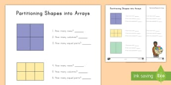 Partitioning Shapes into Arrays Activity Sheet - geometry, multiplication, columns, rows, Worksheet