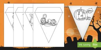 Halloween Display Bunting English/Afrikaans - October, Oktober, pumpkin, pampoen, skeleton, EAL