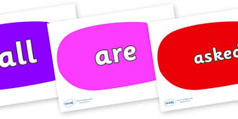 Tricky Words on Speech Bubbles (Multicolour) - Tricky words, DfES Letters and Sounds, Letters and sounds, display, words