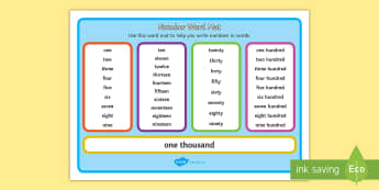 Number Words to 1000 Word Mat  - spellings, numbers, words, word mat, numeracy, thousand